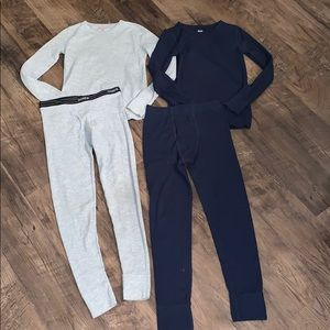 2 Pairs of Boys Gray & Blue Thermal Under Wear